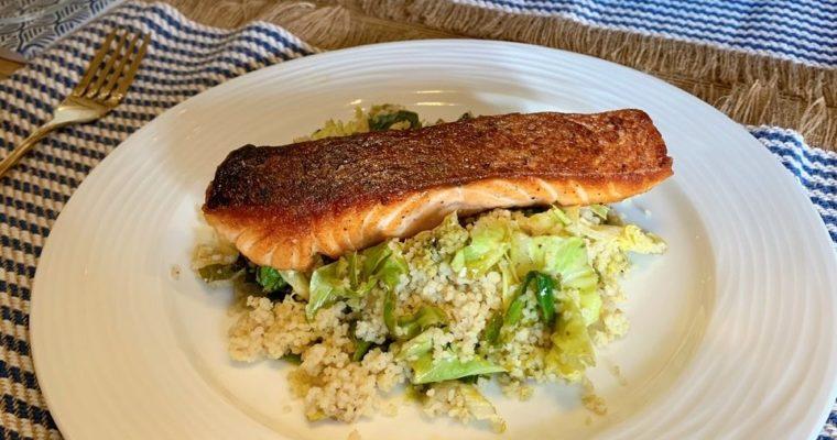 Speedy Seared Salmon with Zesty Lemon Couscous, Pesto & Spring Greens