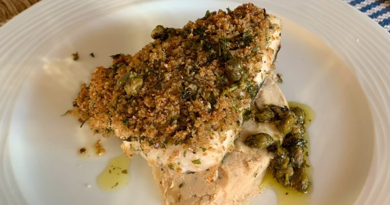 Herb and Parmesan Crusted Hake with Caper & Lemon Brown Butter Sauce
