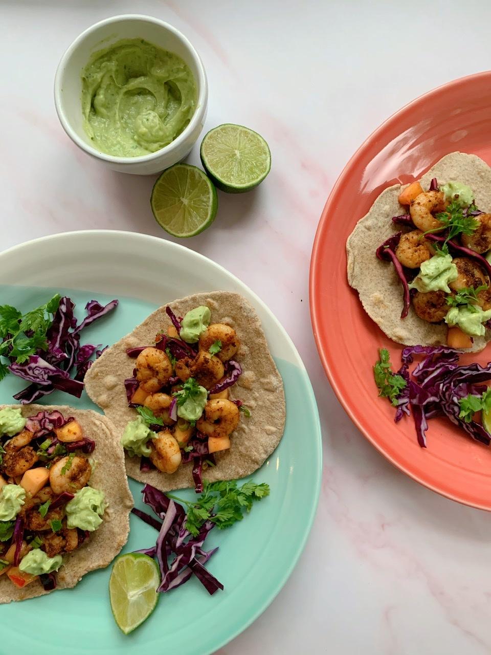 Cajun Prawn Tacos, Mango and  Lime Salsa & Avocado Cream