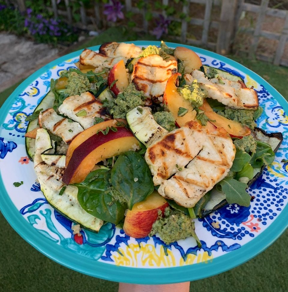 Grilled Halloumi, Peach and Quinoa Summer Salad with Minty Pesto