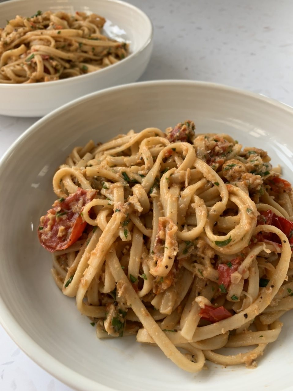 Crab, Chilli and Tomato Linguine