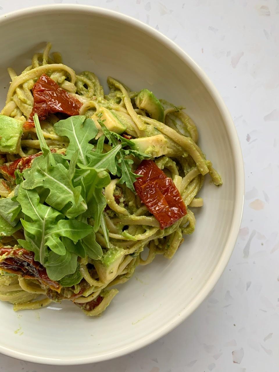 Creamy Avocado Pesto & Sundried Tomato Spaghetti