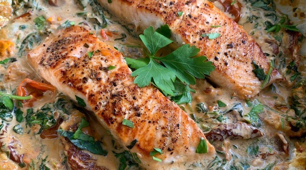 Creamy One Pan Tuscan Salmon