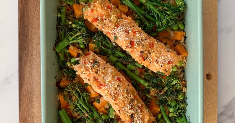 Sticky Miso Salmon and Coconut Rice Traybake