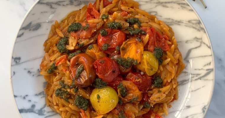 Tomato Orzo, Roasted Cherry Tomatoes & Rosemary Oil